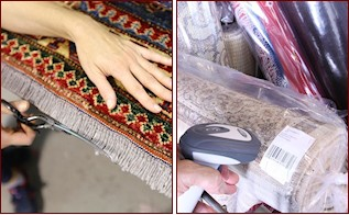 Carpets washing . Cleaning rugs  Control and packaging of carpets