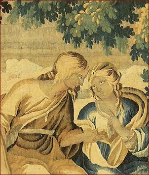 """Arazzo antico, storia di Mirtillo e Amarilli dall'opera """"Pastor fido"""" di B. Guarini (1590)"""