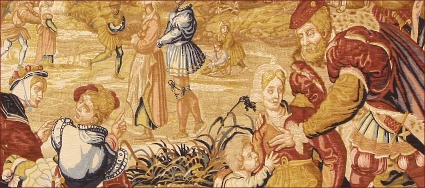 Arazzo De Rambouillet L'hiver XVII sec., Museo di Pau, particolare.