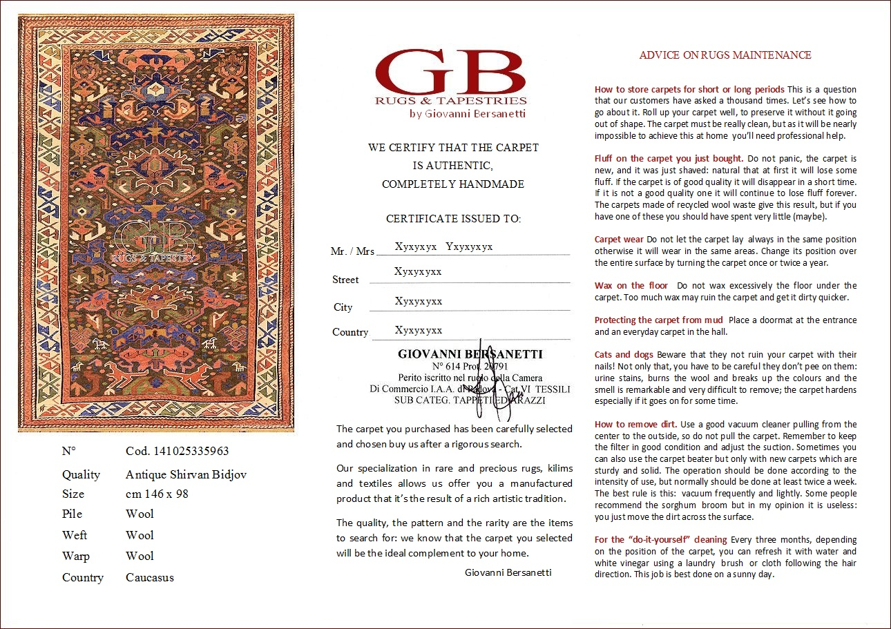 Authenticity certificate carpets and tapestries